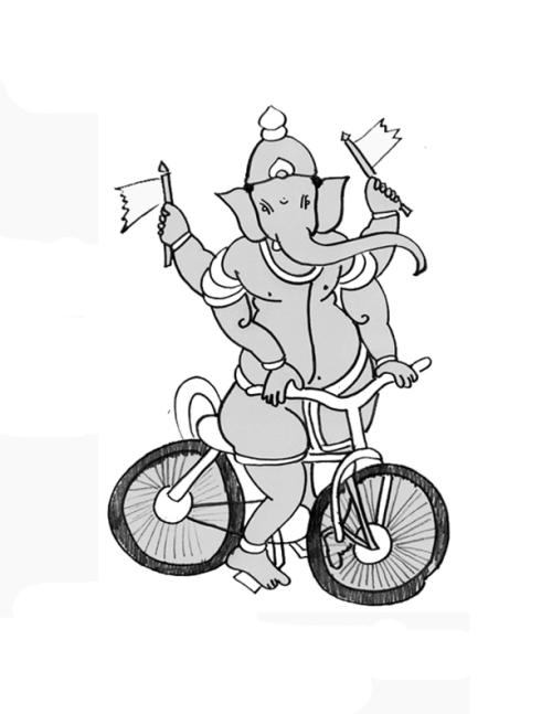 Lord Ganesh Rides a Bike